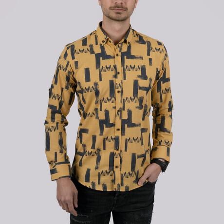 Brush Patterned Slim Fit Shirt // Mustard (Small)