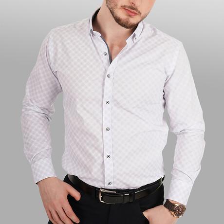 Diamond Patterned Shirt // White (Small)