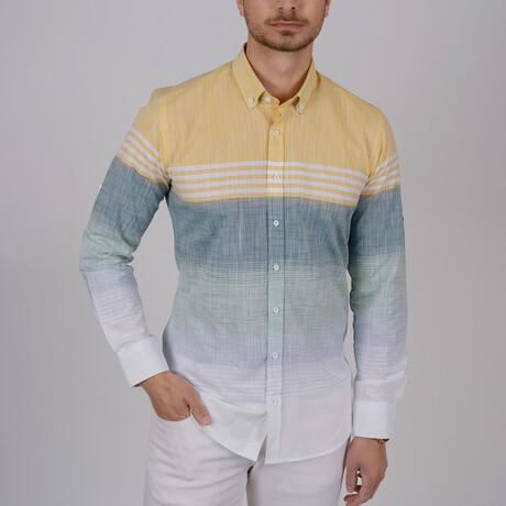 Paneled Slim Fit Shirt // Yellow + Green (Small)