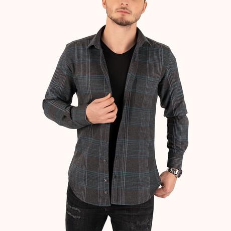 Striped Winter Lumberjack Shirt // Black + Green (Small)