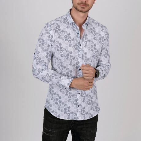Honeycomb Slim Fit Shirt // White + Gray (Small)