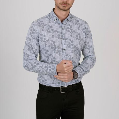 Honeycomb Slim Fit Shirt // Pigeon Blue (Small)
