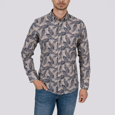 Palm Patterned Slim Fit Shirt // Beige (Small)