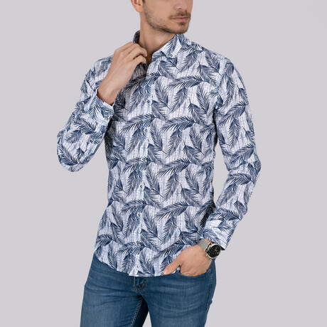 Palm Patterned Slim Fit Shirt // White (Small)