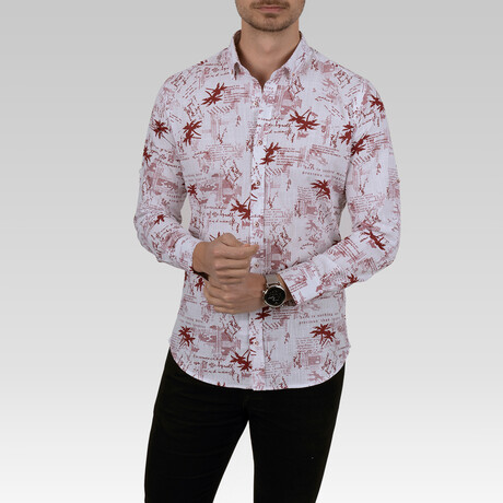Text Pattern Slim Fit Shirt // Red (Small)