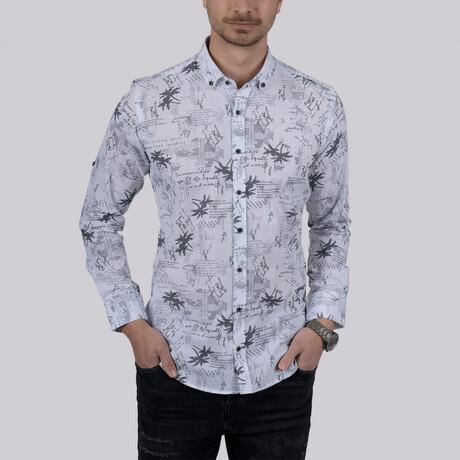 Text Pattern Slim Fit Shirt // Gray (Small)