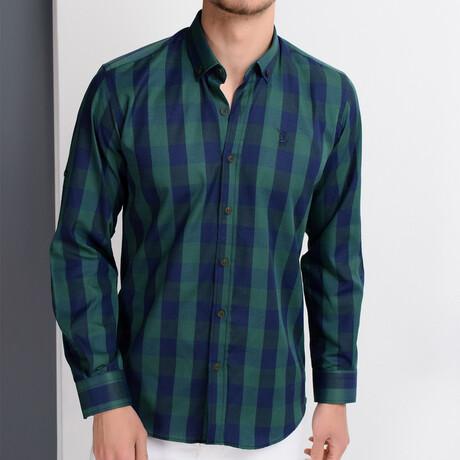 Taylor Button Down Shirt // Dark Blue + Green (Small)