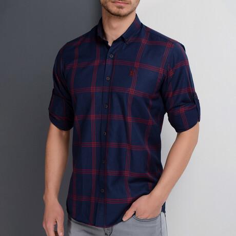 Harrison Button Down Shirt // Dark Blue + Burgundy (Small)