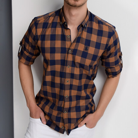 Taylor Button Down Shirt // Dark Blue + Brown (Small)