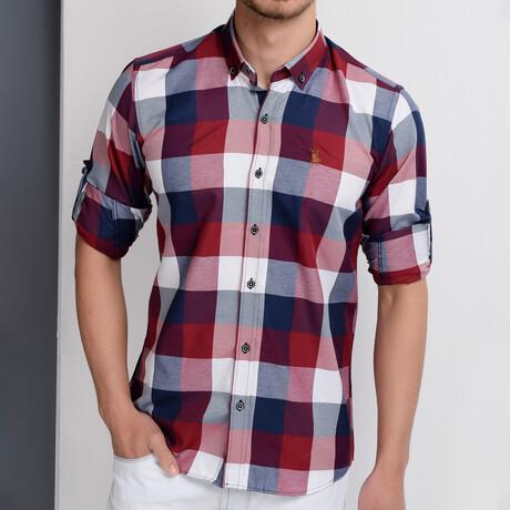 James Button Down Shirt // Dark Blue + Burgundy (Small)