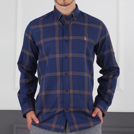 Harrison Button Down Shirt // Dark Blue + Brown (Small)