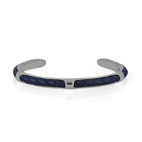 Brass + Leather Cuffed Bracelet // Silver + Blue