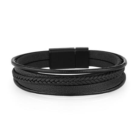 Layered Leather Bracelet // Black
