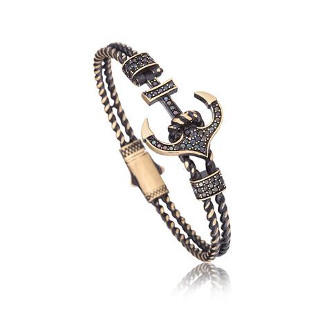 Zircon Anchor Bracelet // Antique Gold
