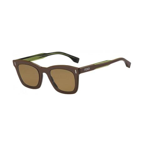 Men's Square Sunglasses // Brown + Green