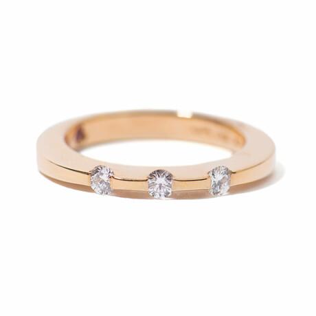 18k Rose Gold 3 Diamond Ring // Ring Size 6.5 // New