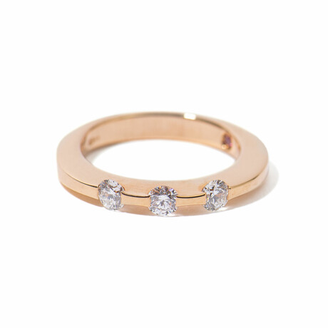 18k Rose Gold 3 Diamond Ring // Ring Size 5.5 // New