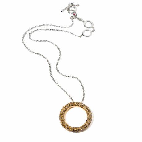 "18k Yellow Gold + 18k White Gold Diamond Circle Pendant Necklace // 16"" // New"