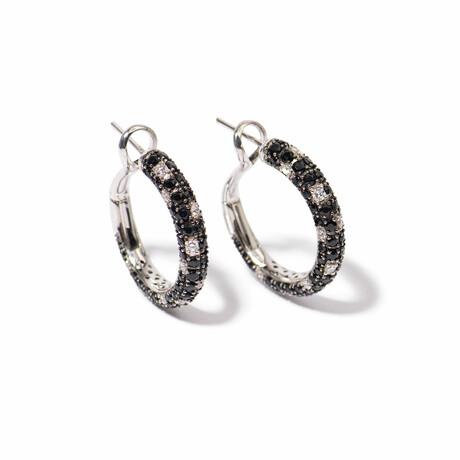 Tuxedo 18k White Gold Diamond + Sapphire Hoop Earrings // New