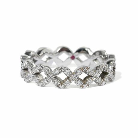 18k White Gold Diamond Eternity Band Ring // Ring Size 6.5 // New