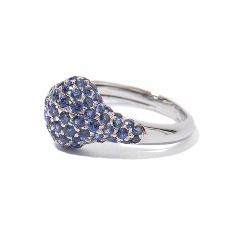 Ms. Peacock 18k White Gold + Sapphire Cocktail Ring // Ring Size 7.5 // New