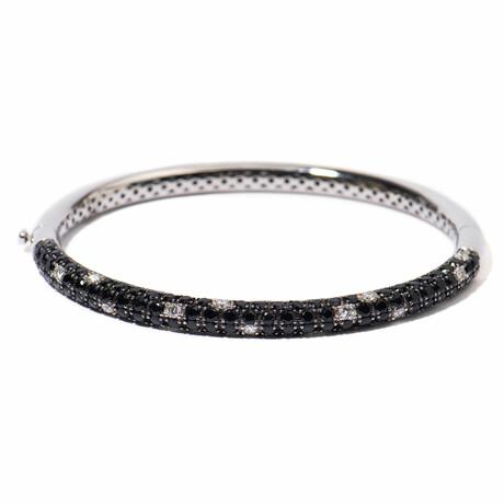 "18k White Gold Diamond + Black Sapphire Bangle Bracelet // 7"" // New"