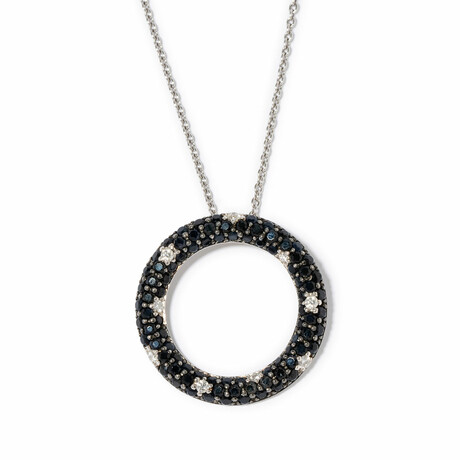 "Tuxedo 18k White Gold Diamond + Sapphire Circle Necklace I // 18"" // New"