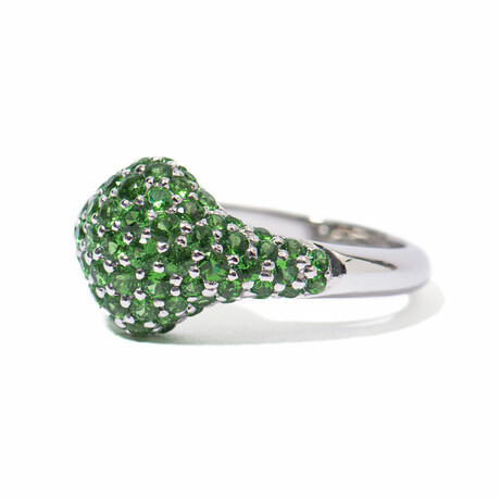 Seeing Green 18k White Gold + Tsavorite Garnet Cocktail Ring // Ring Size 7 // New