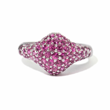 Ms. Flamingo 18k White Gold + Sapphire Cocktail Ring // Ring Size 7.5 // New