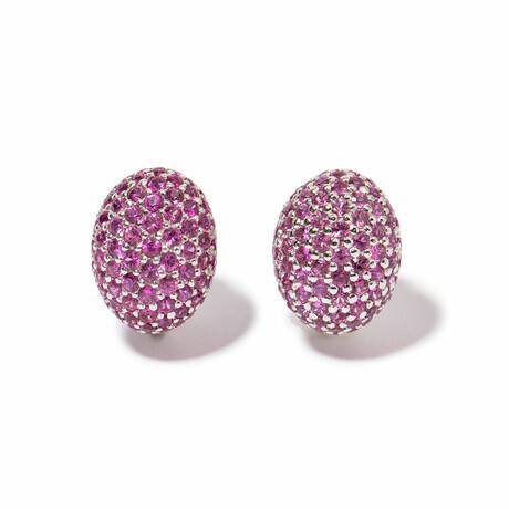 Ms. Flamingo 18k White Gold + Sapphire Round Earrings // New