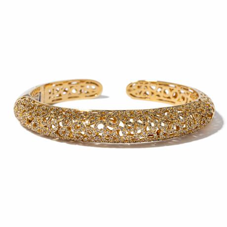 "18k Yellow Gold Diamond Caged Bangle Bracelet // 7.5"" // New"