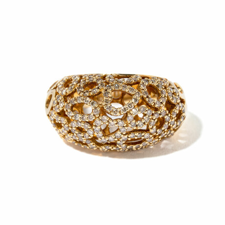 18k Yellow Gold Diamond Caged Ring // Ring Size 6 // New