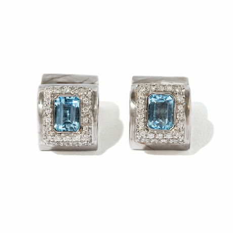 18k White Gold Diamond + Topaz Cuff Earrings // New