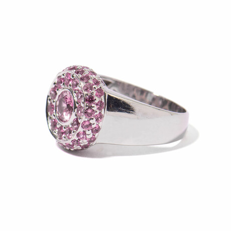 Ms. Flamingo 18k White Gold + Sapphire Cluster Ring // Ring Size 7 // New