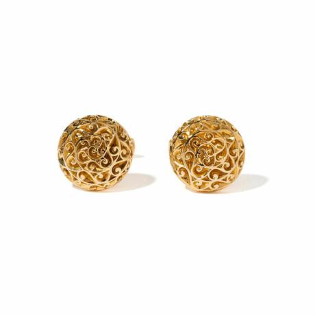 18k Yellow Gold Round Etched Cufflinks // New