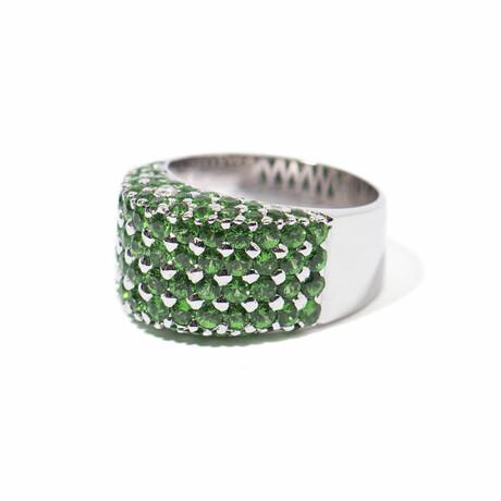 Seeing Green 18k White Gold Diamond + Tsavorite Garnet Ring // Ring Size 7.5 // New