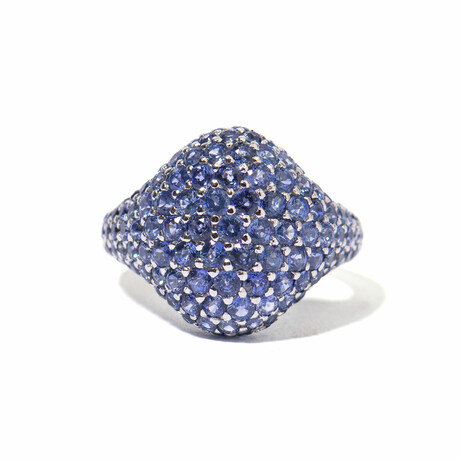 Ms. Peacock 18k White Gold + Sapphire Cocktail Ring // Ring Size 7 // New