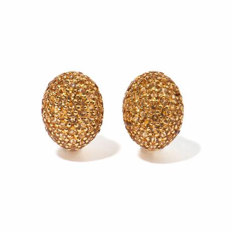 18k Yellow Gold Citrine Earrings // New