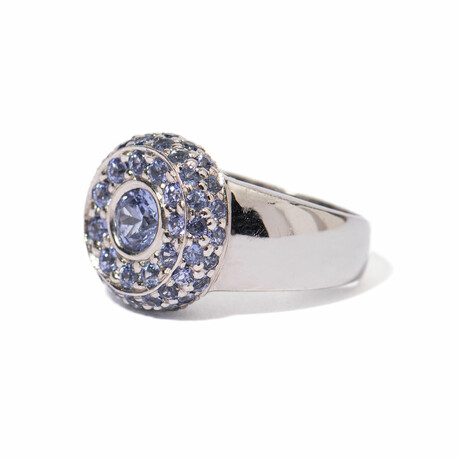 Ms. Peacock 18k White Gold + Sapphire Cluster Ring // Ring Size 7 // New