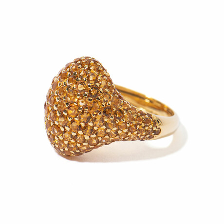 18k Yellow Gold Citrine Cocktail Ring // Ring Size 7.5 // New