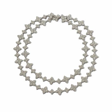 "18k White Gold Diamond Flower-Link Pave Necklace // 34"" // New"