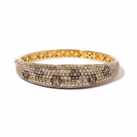 "18k Yellow Gold Diamond Flower Bangle Bracelet // 7"" // New"