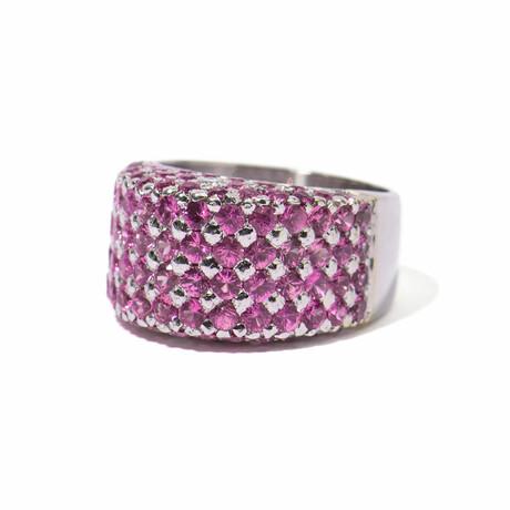 Ms. Flamingo 18k White Gold Diamond + Sapphire Ring // Ring Size 7.5 // New