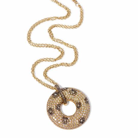 "18k Yellow Gold Diamond Flower Pendant Necklace // 16"" // New"