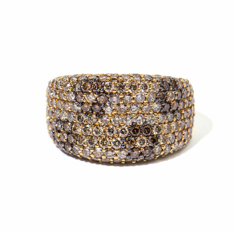 18k Yellow Gold Diamond Flower Ring // Ring Size 6 // New