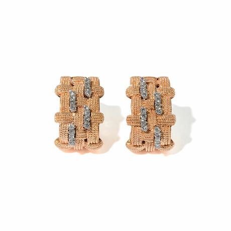 Woven Vertical 18k Tri-Color Gold Diamond Earrings // New