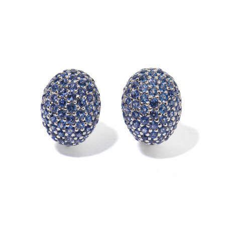 Ms. Peacock 18k White Gold + Sapphire Round Earrings // New