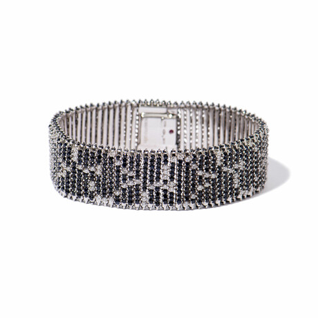 "Fantasia 18k White Gold Diamond + Sapphire Tennis Bracelet // 7"" // New"