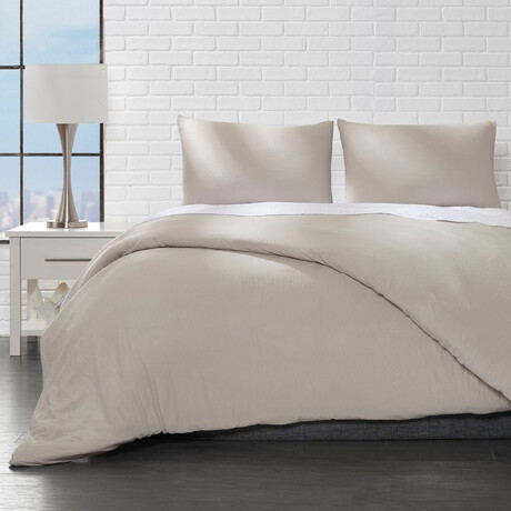 Microfiber Duvet Cover Set // Taupe (Twin)