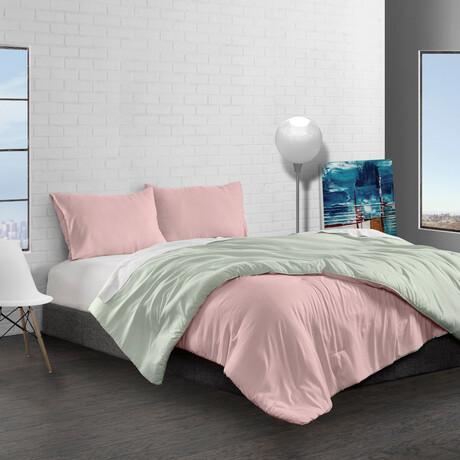 Reversible Brushed Microfiber Plush Down-Alt Comforter Set // Rose + Sage (Twin)